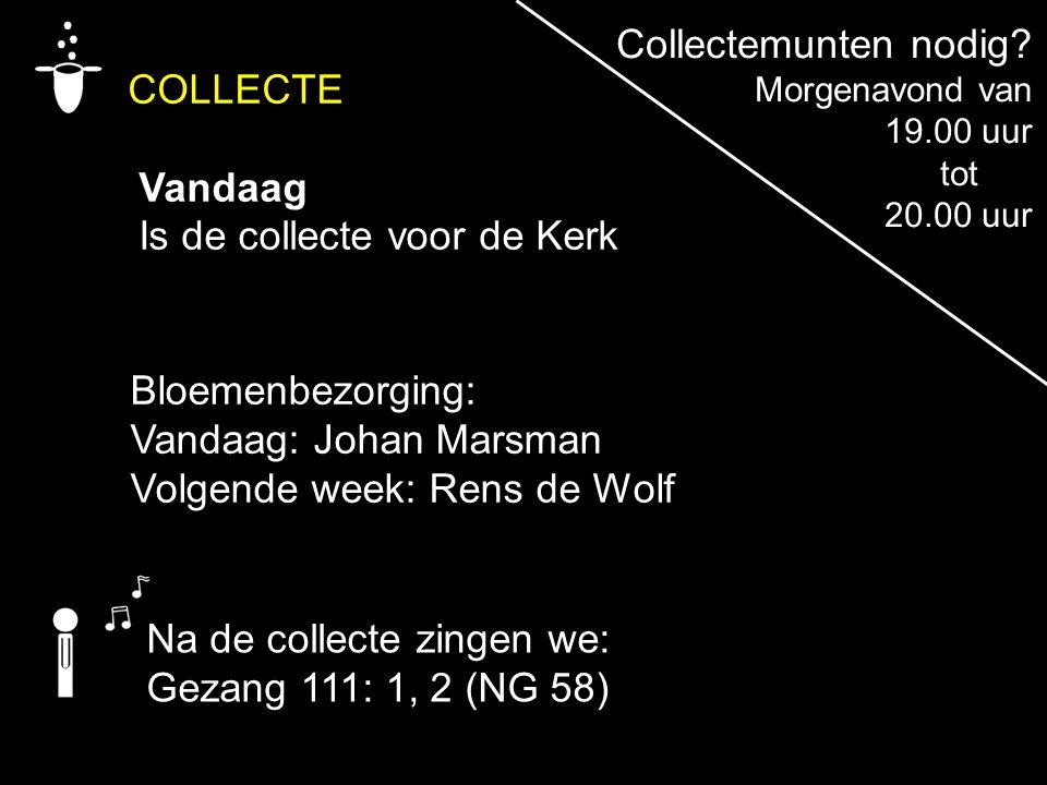 COLLECTE Vandaag Is de collecte voor de Kerk Na de collecte zingen we: Gezang 111: 1, 2 (NG 58) Bloemenbezorging: Vandaag: Johan Marsman Volgende week