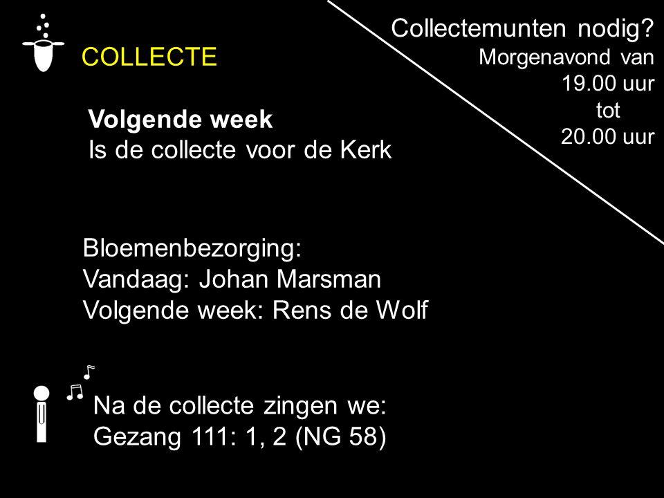 COLLECTE Volgende week Is de collecte voor de Kerk Bloemenbezorging: Vandaag: Johan Marsman Volgende week: Rens de Wolf Na de collecte zingen we: Geza