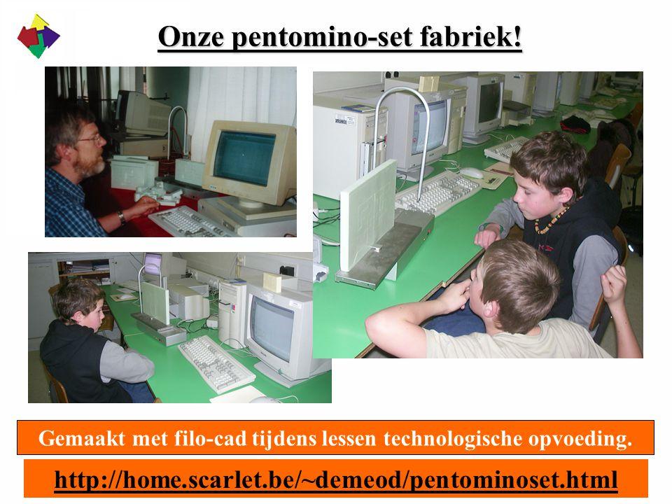 Onze pentomino-set fabriek! Gemaakt met filo-cad tijdens lessen technologische opvoeding. http://home.scarlet.be/~demeod/pentominoset.html