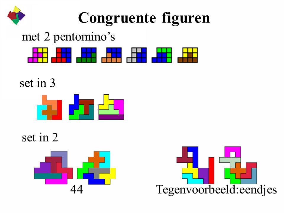 Congruente figuren Tegenvoorbeeld:eendjes met 2 pentomino's set in 3 set in 2 44
