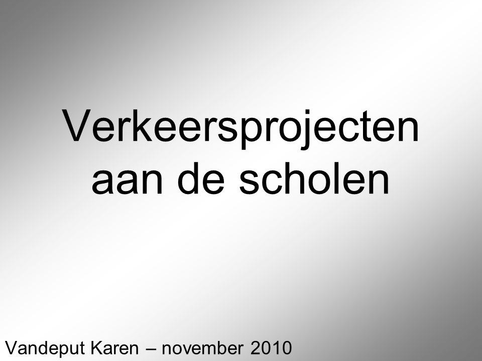 Verkeersprojecten aan de scholen Vandeput Karen – november 2010