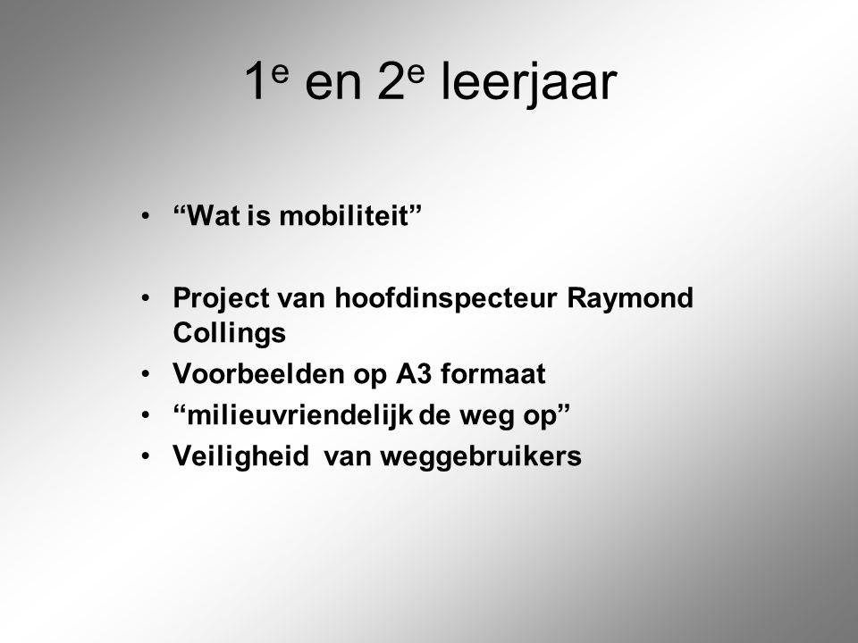 """1 e en 2 e leerjaar """"Wat is mobiliteit"""" Project van hoofdinspecteur Raymond Collings Voorbeelden op A3 formaat """"milieuvriendelijk de weg op"""" Veilighei"""