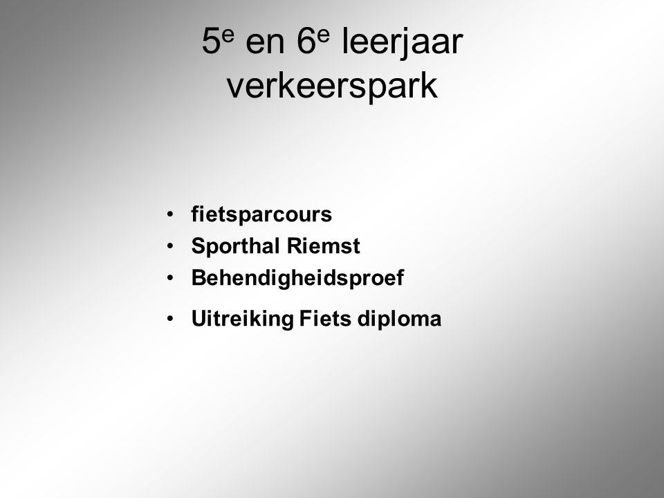 5 e en 6 e leerjaar verkeerspark fietsparcours Sporthal Riemst Behendigheidsproef Uitreiking Fiets diploma