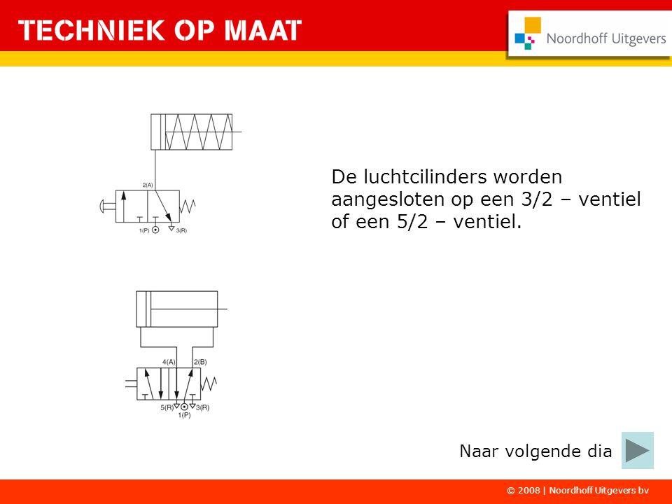 De luchtcilinders worden aangesloten op een 3/2 – ventiel of een 5/2 – ventiel. © 2008 | Noordhoff Uitgevers bv Naar volgende dia