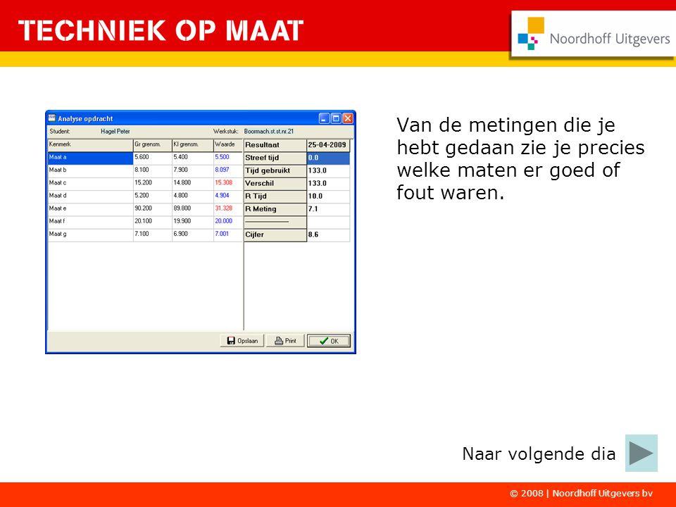 © 2008 | Noordhoff Uitgevers bv Van de metingen die je hebt gedaan zie je precies welke maten er goed of fout waren. Naar volgende dia