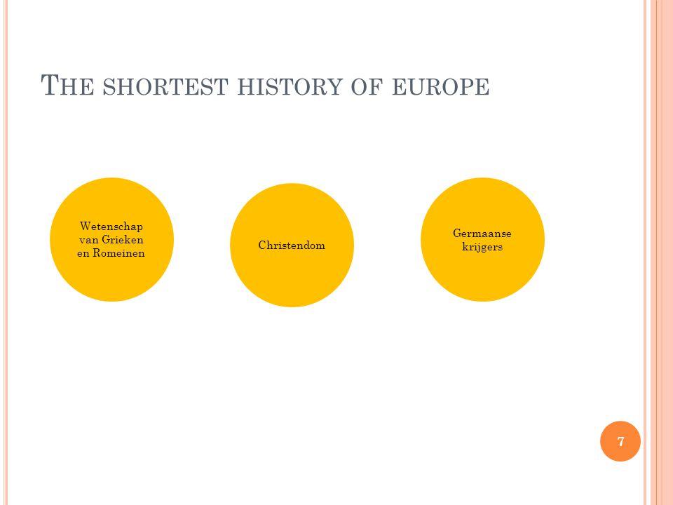 T HE SHORTEST HISTORY OF EUROPE Kaart van de Vikinggebieden in de 8e (donkerrood), 9e (rood), 10e (oranje) en 11e (geel) eeuw.