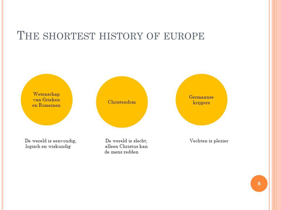 T HE SHORTEST HISTORY OF EUROPE De wereld is eenvoudig, De wereld is slecht; Vechten is plezier logisch en wiskundig alleen Christus kan de mens redden Germaanse krijgers Wetenschap van Grieken en Romeinen Christendom 8