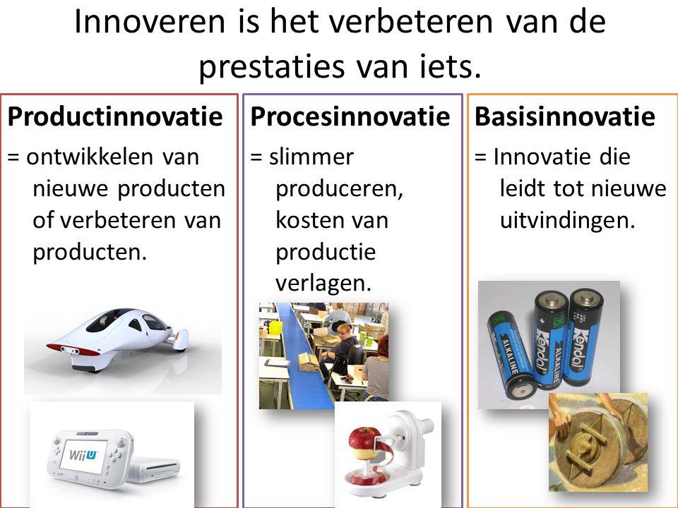Innoveren is het verbeteren van de prestaties van iets. Procesinnovatie = slimmer produceren, kosten van productie verlagen. Productinnovatie = ontwik