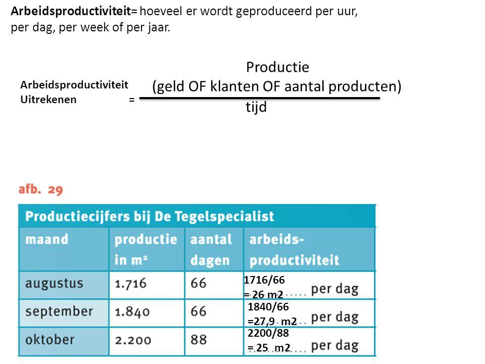 Arbeidsproductiviteit= hoeveel er wordt geproduceerd per uur, per dag, per week of per jaar. Productie (geld OF klanten OF aantal producten) tijd Arbe