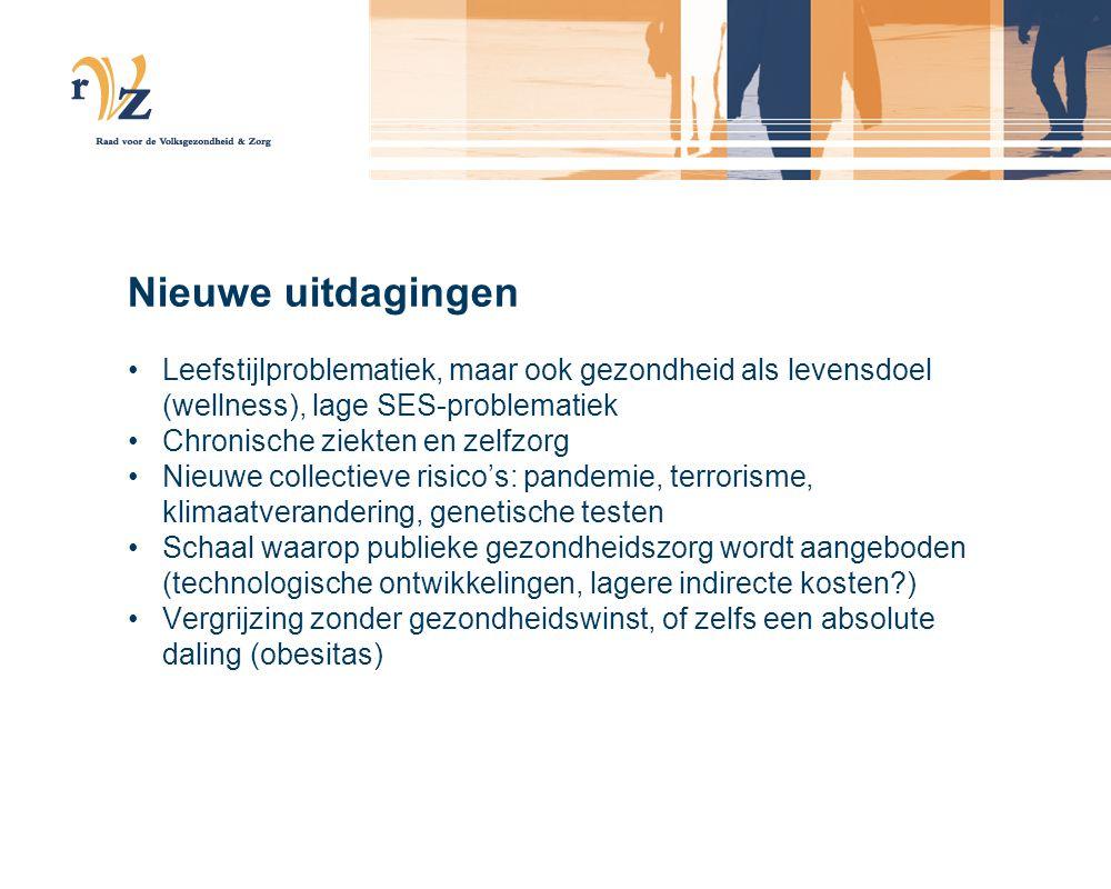 Nieuwe uitdagingen Leefstijlproblematiek, maar ook gezondheid als levensdoel (wellness), lage SES-problematiek Chronische ziekten en zelfzorg Nieuwe c