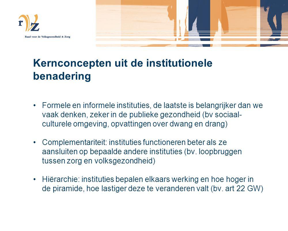 Kernconcepten uit de institutionele benadering Formele en informele instituties, de laatste is belangrijker dan we vaak denken, zeker in de publieke g
