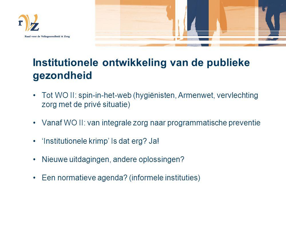 Institutionele ontwikkeling van de publieke gezondheid Tot WO II: spin-in-het-web (hygiënisten, Armenwet, vervlechting zorg met de privé situatie) Van
