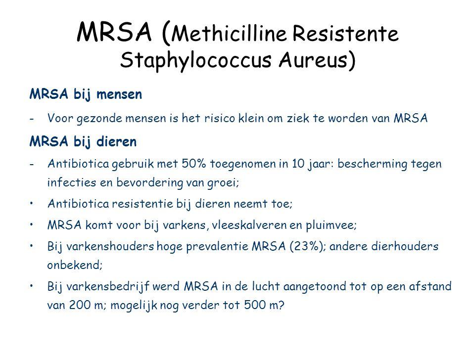 MRSA ( Methicilline Resistente Staphylococcus Aureus) MRSA bij mensen -Voor gezonde mensen is het risico klein om ziek te worden van MRSA MRSA bij dieren -Antibiotica gebruik met 50% toegenomen in 10 jaar: bescherming tegen infecties en bevordering van groei; Antibiotica resistentie bij dieren neemt toe; MRSA komt voor bij varkens, vleeskalveren en pluimvee; Bij varkenshouders hoge prevalentie MRSA (23%); andere dierhouders onbekend; Bij varkensbedrijf werd MRSA in de lucht aangetoond tot op een afstand van 200 m; mogelijk nog verder tot 500 m?