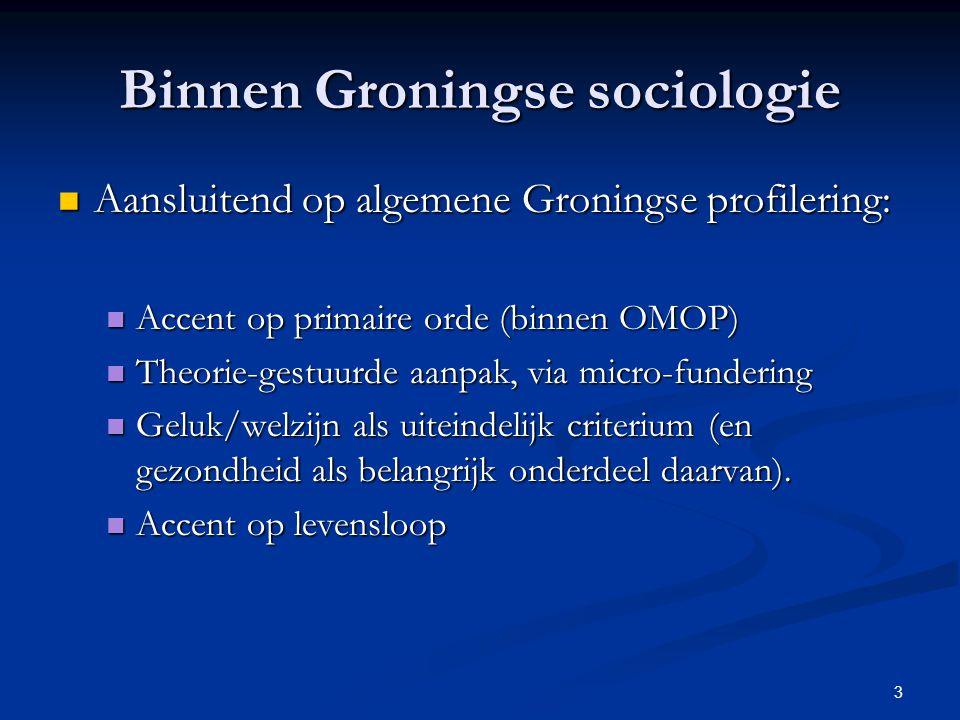 3 Binnen Groningse sociologie Aansluitend op algemene Groningse profilering: Aansluitend op algemene Groningse profilering: Accent op primaire orde (b