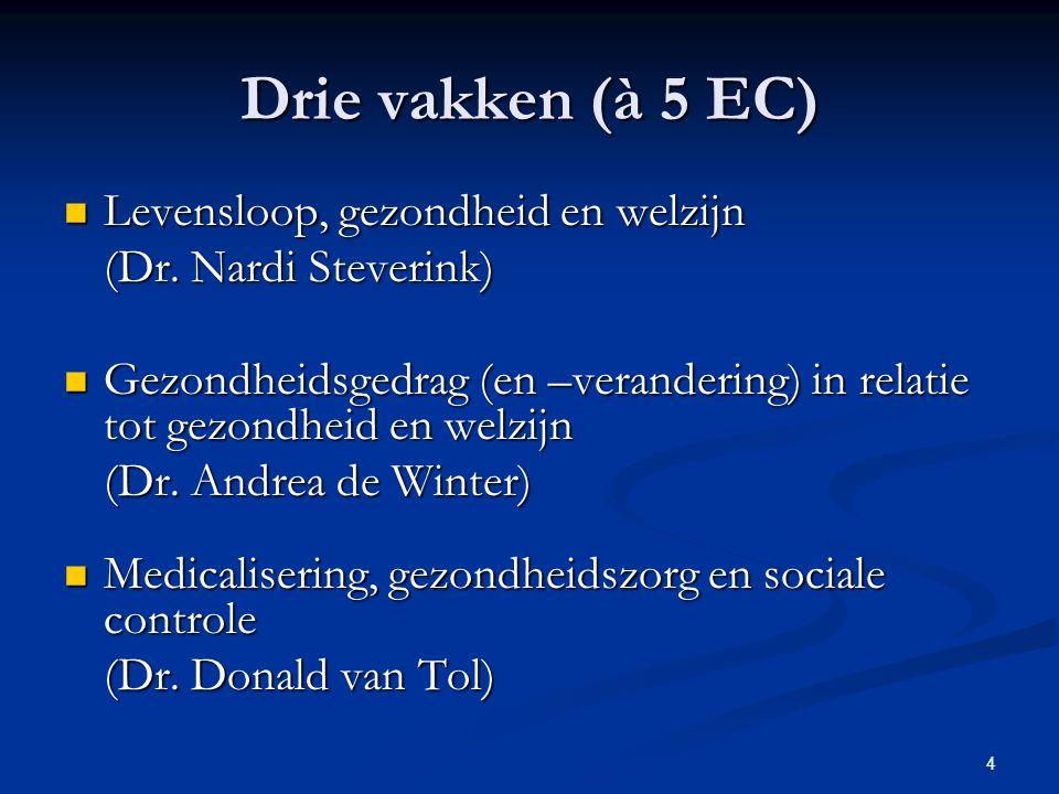 4 Drie vakken (à 5 EC) Levensloop, gezondheid en welzijn Levensloop, gezondheid en welzijn (Dr. Nardi Steverink) Gezondheidsgedrag (en –verandering) i