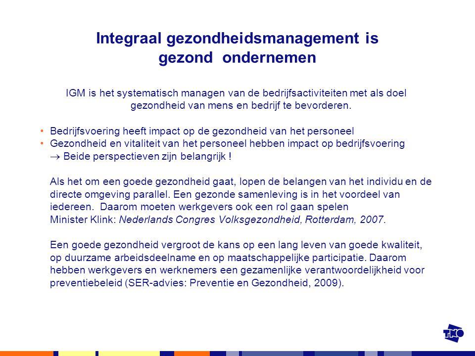 Integraal gezondheidsmanagement is gezond ondernemen IGM is het systematisch managen van de bedrijfsactiviteiten met als doel gezondheid van mens en b