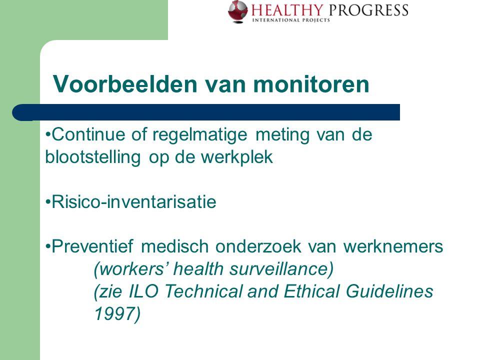 Voorbeelden van monitoren Continue of regelmatige meting van de blootstelling op de werkplek Risico-inventarisatie Preventief medisch onderzoek van werknemers (workers' health surveillance) (zie ILO Technical and Ethical Guidelines 1997)