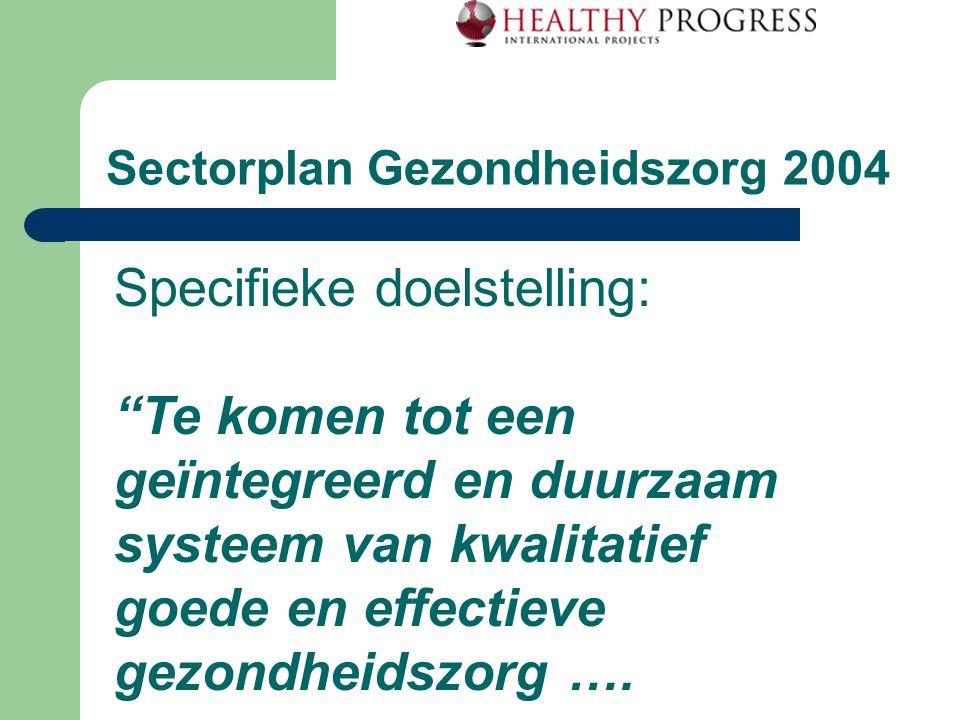 Sectorplan Gezondheidszorg 2004 Specifieke doelstelling: Te komen tot een geïntegreerd en duurzaam systeem van kwalitatief goede en effectieve gezondheidszorg ….