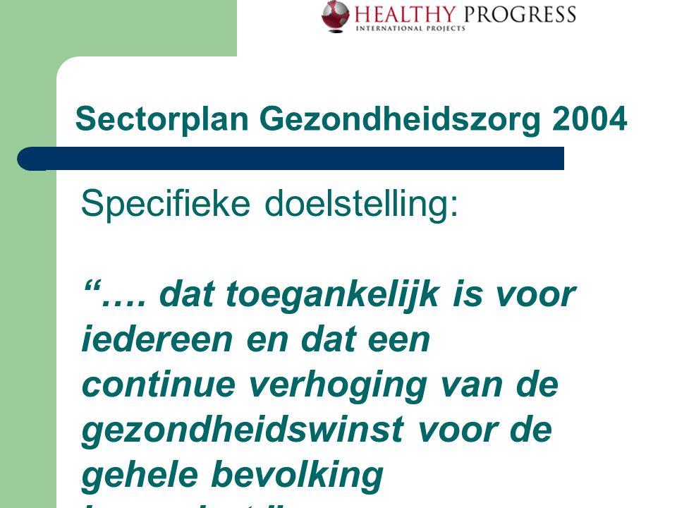 """Sectorplan Gezondheidszorg 2004 Specifieke doelstelling: """"…. dat toegankelijk is voor iedereen en dat een continue verhoging van de gezondheidswinst v"""