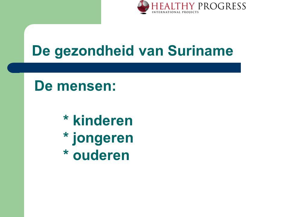 De gezondheid van Suriname De mensen: * kinderen * jongeren * ouderen