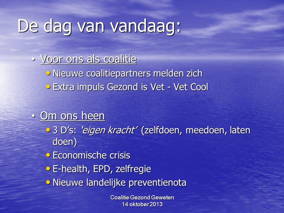 Coalitie Gezond Geweten 14 oktober 2013 De dag van vandaag: Voor ons als coalitie Voor ons als coalitie Nieuwe coalitiepartners melden zich Nieuwe coa