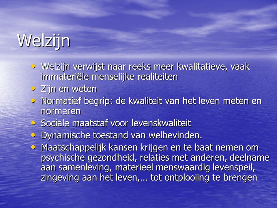 Welzijn Welzijn verwijst naar reeks meer kwalitatieve, vaak immateriële menselijke realiteiten Welzijn verwijst naar reeks meer kwalitatieve, vaak imm
