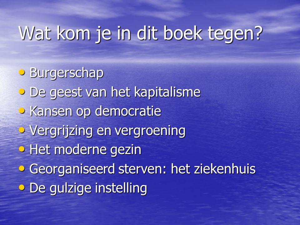 Wat kom je in dit boek tegen? Burgerschap Burgerschap De geest van het kapitalisme De geest van het kapitalisme Kansen op democratie Kansen op democra