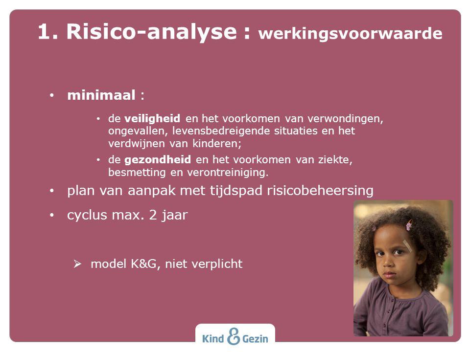 1.Risico-analyse 2.Veilig slapen 3.Gezonde voeding en beweging 4.Crisis en grensoverschrijdend gedrag 5.Andere vereisten Veiligheid en gezondheid