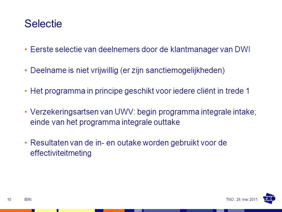 TNO, 26 mei 2011IBIN10 Selectie Eerste selectie van deelnemers door de klantmanager van DWI Deelname is niet vrijwillig (er zijn sanctiemogelijkheden) Het programma in principe geschikt voor iedere cliënt in trede 1 Verzekeringsartsen van UWV: begin programma integrale intake; einde van het programma integrale outtake Resultaten van de in- en outake worden gebruikt voor de effectiviteitmeting