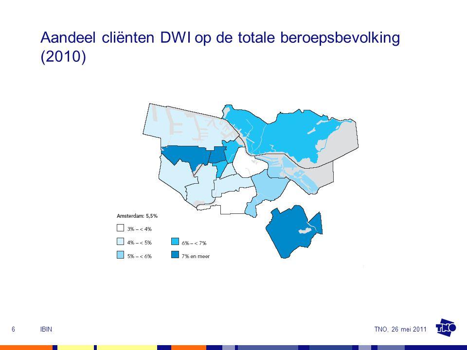 TNO, 26 mei 2011IBIN6 Aandeel cliënten DWI op de totale beroepsbevolking (2010)