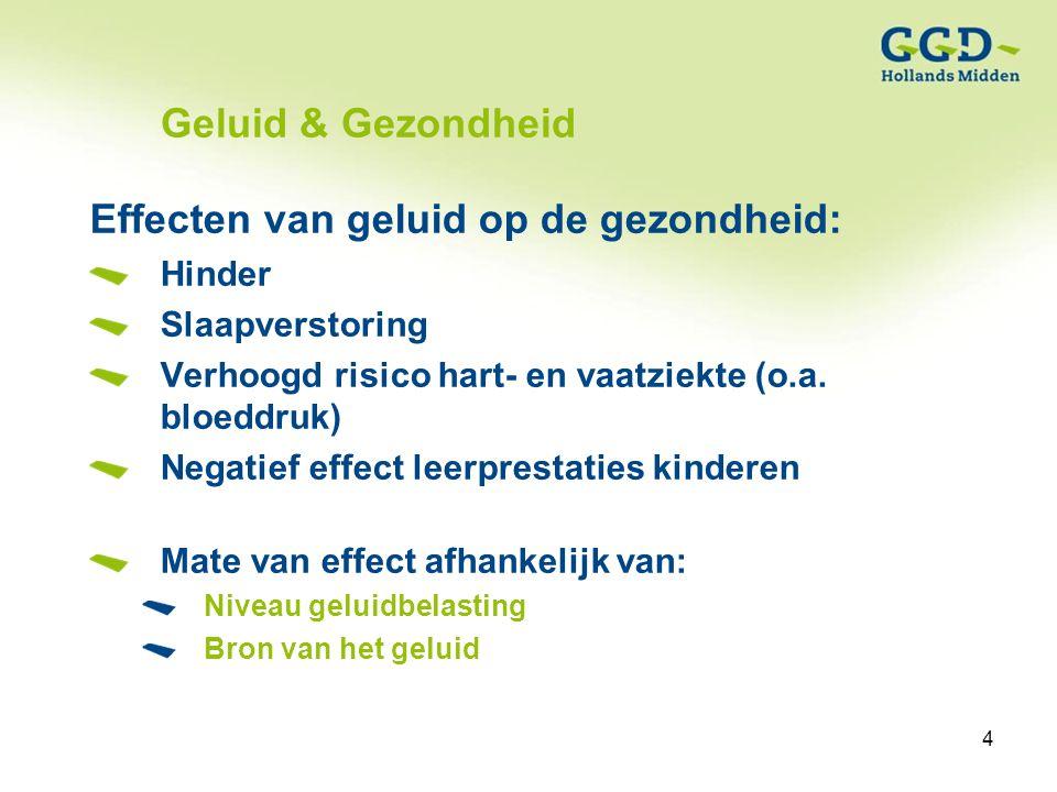 4Titel van de presentatie19-01-2007 4 Geluid & Gezondheid Effecten van geluid op de gezondheid: Hinder Slaapverstoring Verhoogd risico hart- en vaatziekte (o.a.