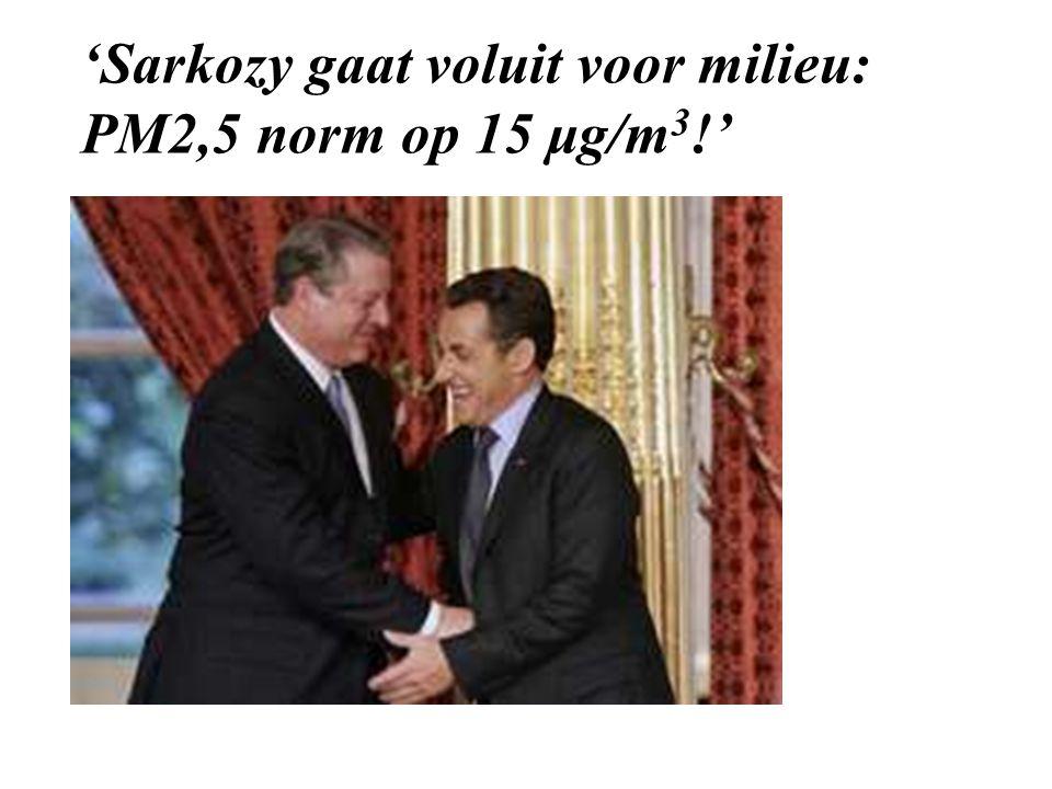 'Sarkozy gaat voluit voor milieu: PM2,5 norm op 15 μg/m 3 !'