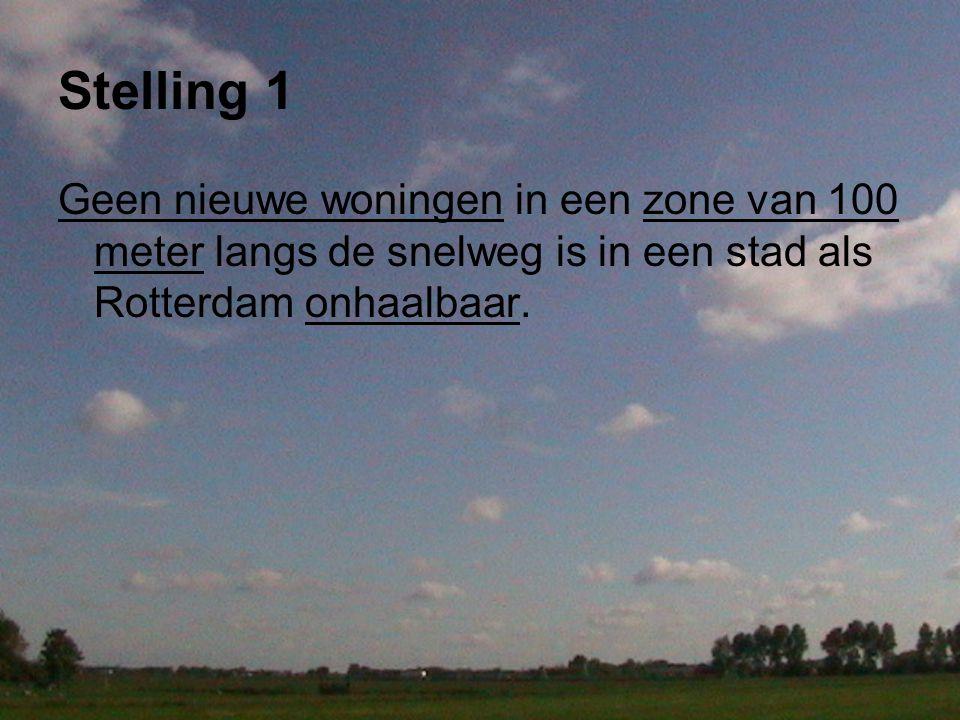 Stelling 1 Geen nieuwe woningen in een zone van 100 meter langs de snelweg is in een stad als Rotterdam onhaalbaar.