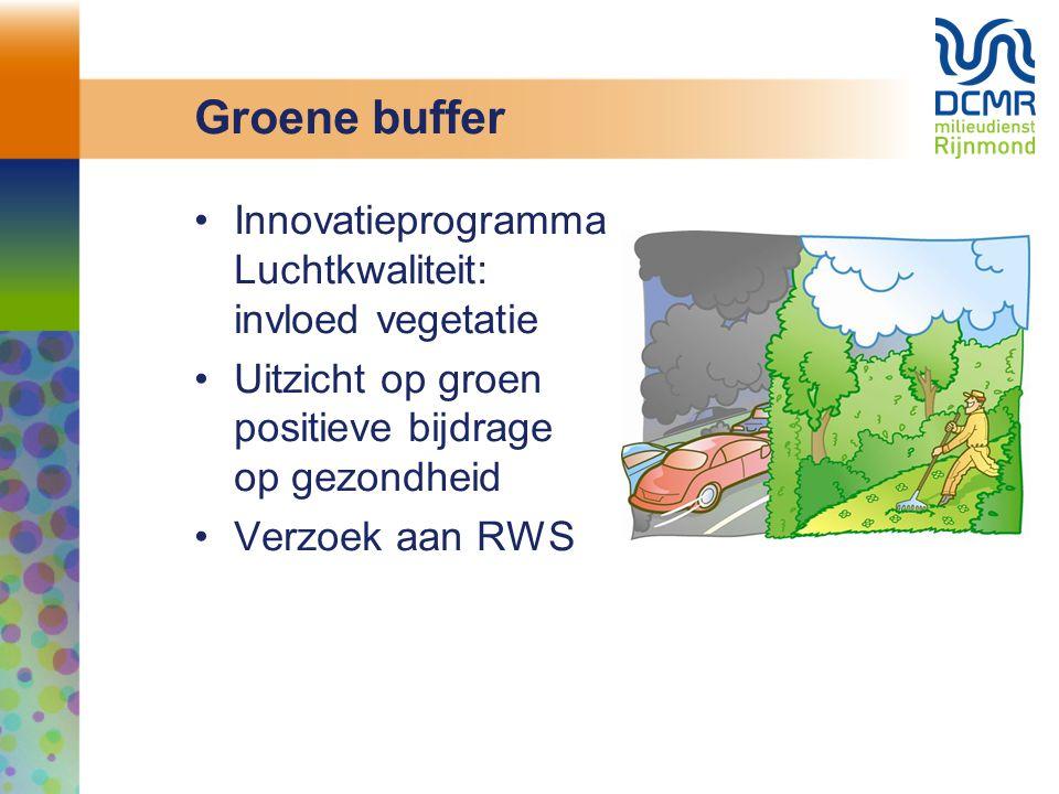 Groene buffer Innovatieprogramma Luchtkwaliteit: invloed vegetatie Uitzicht op groen positieve bijdrage op gezondheid Verzoek aan RWS