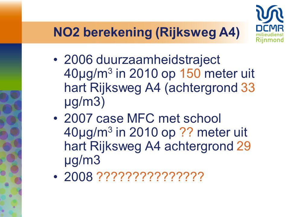 NO2 berekening (Rijksweg A4) 2006 duurzaamheidstraject 40µg/m 3 in 2010 op 150 meter uit hart Rijksweg A4 (achtergrond 33 µg/m3) 2007 case MFC met sch