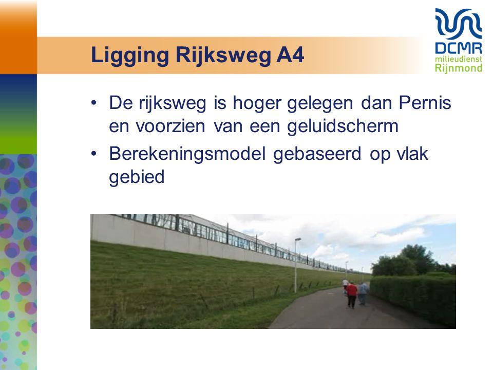 Ligging Rijksweg A4 De rijksweg is hoger gelegen dan Pernis en voorzien van een geluidscherm Berekeningsmodel gebaseerd op vlak gebied