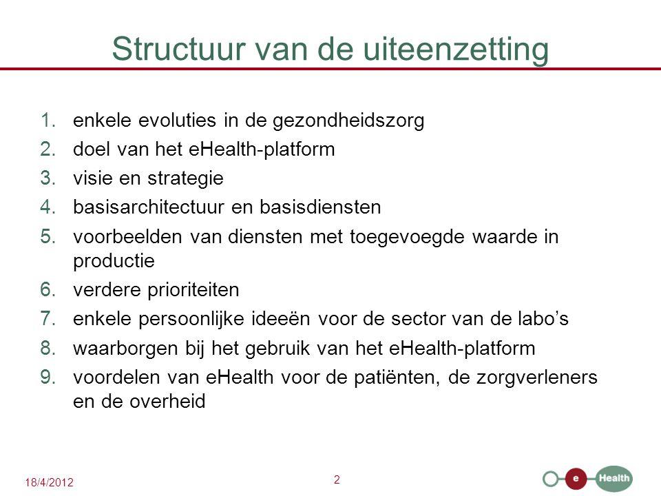 2 18/4/2012 Structuur van de uiteenzetting 1.enkele evoluties in de gezondheidszorg 2.doel van het eHealth-platform 3.visie en strategie 4.basisarchitectuur en basisdiensten 5.voorbeelden van diensten met toegevoegde waarde in productie 6.verdere prioriteiten 7.enkele persoonlijke ideeën voor de sector van de labo's 8.waarborgen bij het gebruik van het eHealth-platform 9.voordelen van eHealth voor de patiënten, de zorgverleners en de overheid