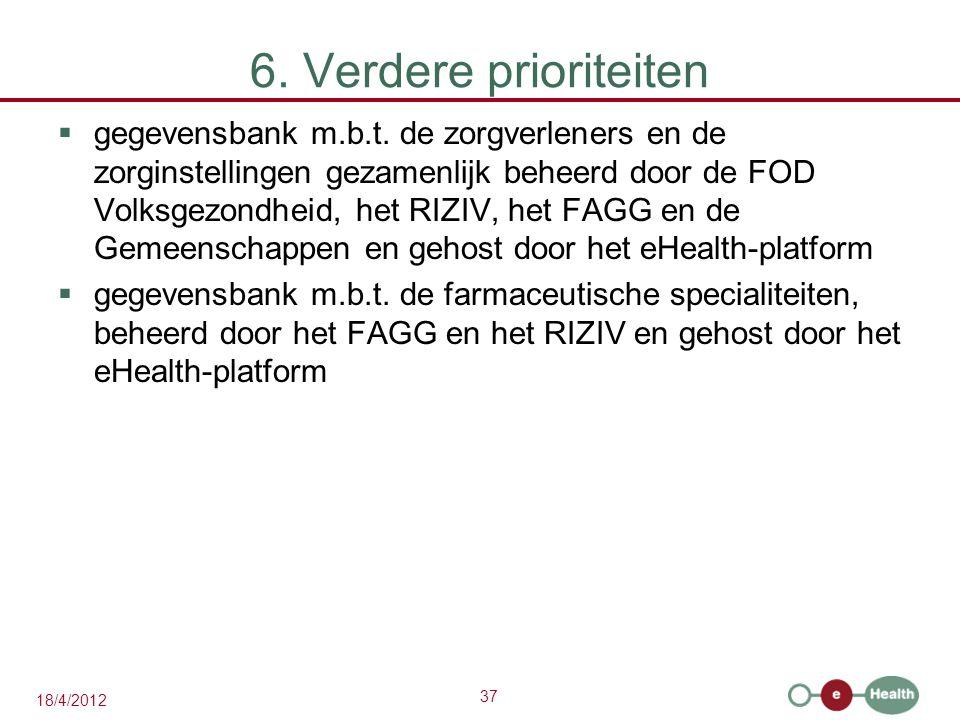 37 18/4/2012 6. Verdere prioriteiten  gegevensbank m.b.t.