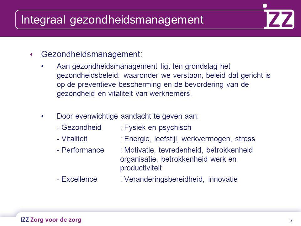 5 Integraal gezondheidsmanagement Gezondheidsmanagement: Aan gezondheidsmanagement ligt ten grondslag het gezondheidsbeleid; waaronder we verstaan; be
