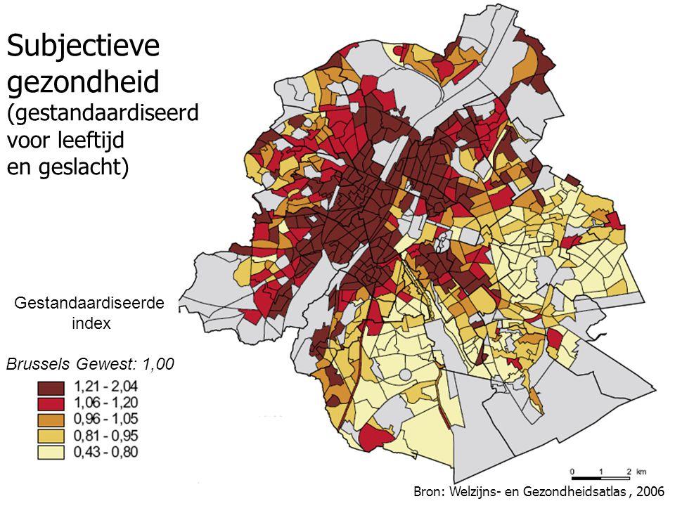 Subjectieve gezondheid (gestandaardiseerd voor leeftijd en geslacht) Gestandaardiseerde index Brussels Gewest: 1,00 Bron: Welzijns- en Gezondheidsatlas, 2006