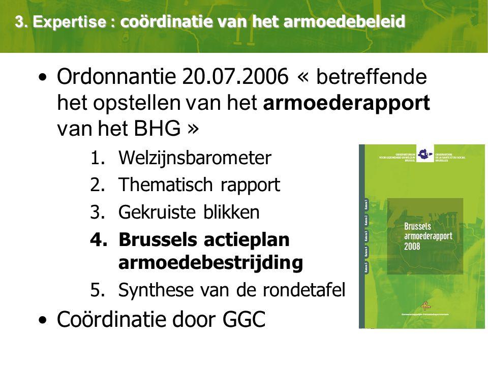 Ordonnantie 20.07.2006 « betreffende het opstellen van het armoederapport van het BHG » 1.Welzijnsbarometer 2.Thematisch rapport 3.Gekruiste blikken 4.Brussels actieplan armoedebestrijding 5.Synthese van de rondetafel Coördinatie door GGC 3.