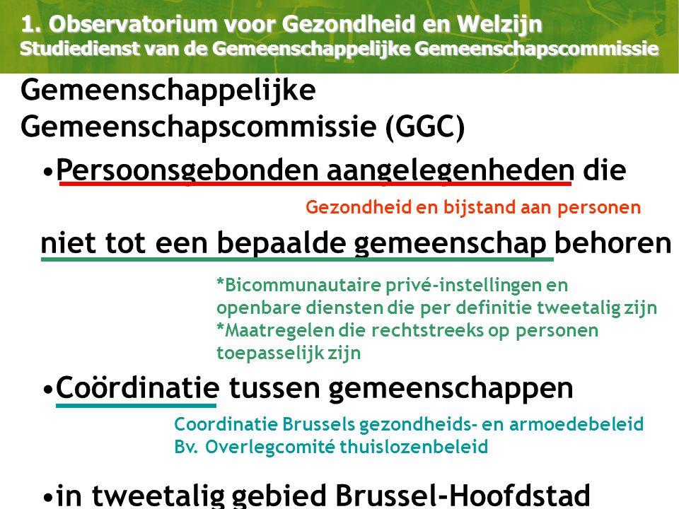 Persoonsgebonden aangelegenheden die niet tot een bepaalde gemeenschap behoren Coördinatie tussen gemeenschappen in tweetalig gebied Brussel-Hoofdstad 1.
