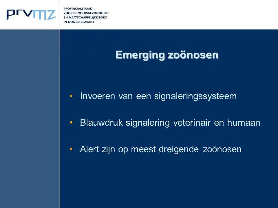 Emerging zoönosen Invoeren van een signaleringssysteem Blauwdruk signalering veterinair en humaan Alert zijn op meest dreigende zoönosen