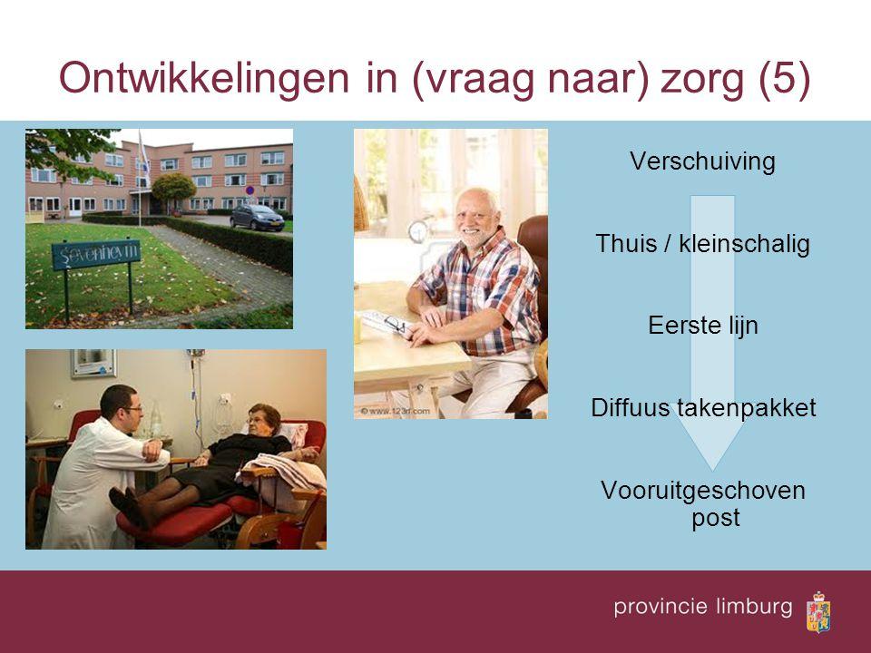 Ontwikkelingen in (vraag naar) zorg (5) Verschuiving Thuis / kleinschalig Eerste lijn Diffuus takenpakket Vooruitgeschoven post