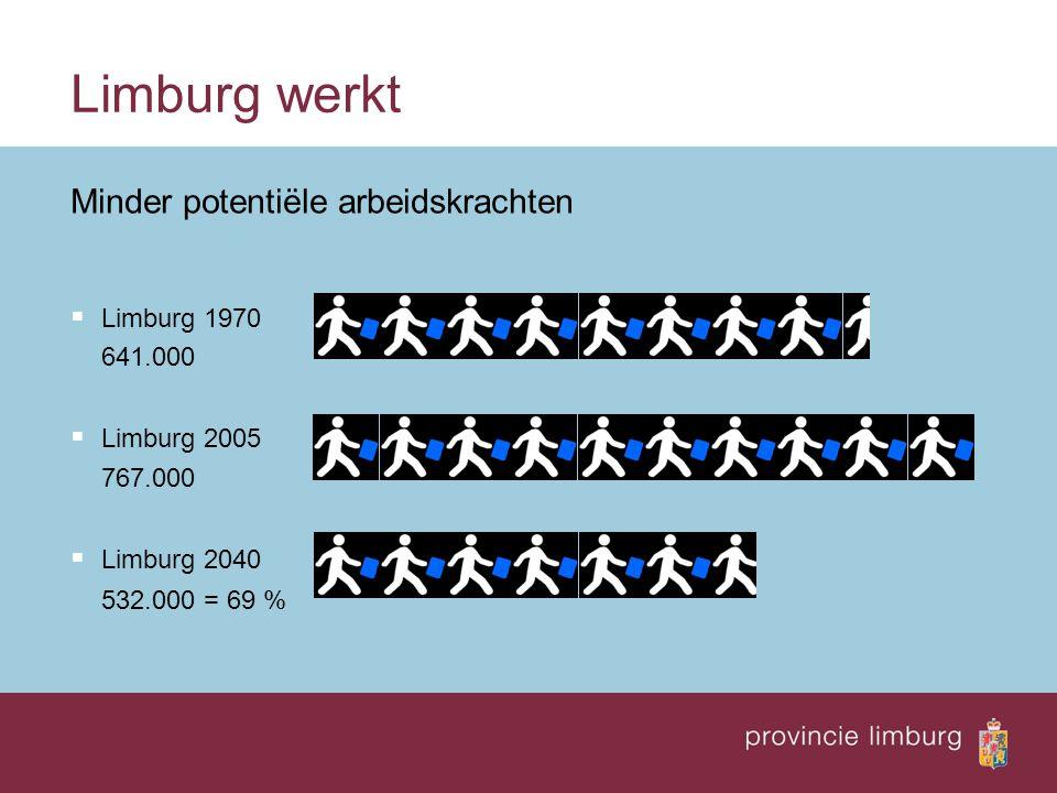 Limburg werkt Minder potentiële arbeidskrachten  Limburg 1970 641.000  Limburg 2005 767.000  Limburg 2040 532.000 = 69 %