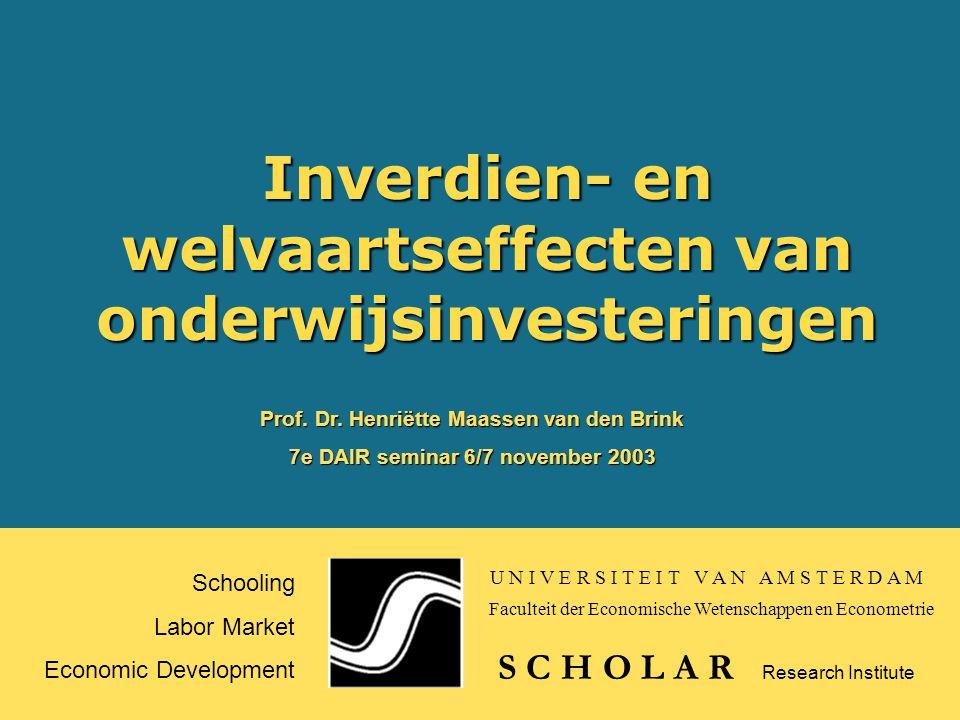 Inverdien- en welvaartseffecten van onderwijsinvesteringen Schooling Labor Market Economic Development S C H O L A R Prof.
