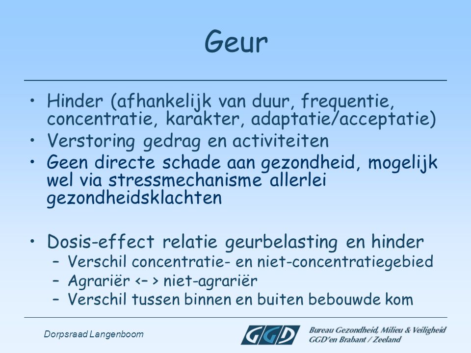 Dorpsraad Langenboom Geur Hinder (afhankelijk van duur, frequentie, concentratie, karakter, adaptatie/acceptatie) Verstoring gedrag en activiteiten Ge