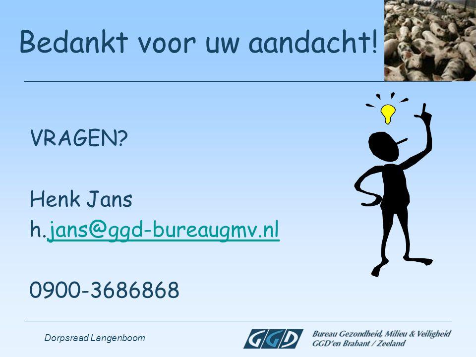 Dorpsraad Langenboom Bedankt voor uw aandacht! VRAGEN? Henk Jans h.jans@ggd-bureaugmv.nljans@ggd-bureaugmv.nl 0900-3686868