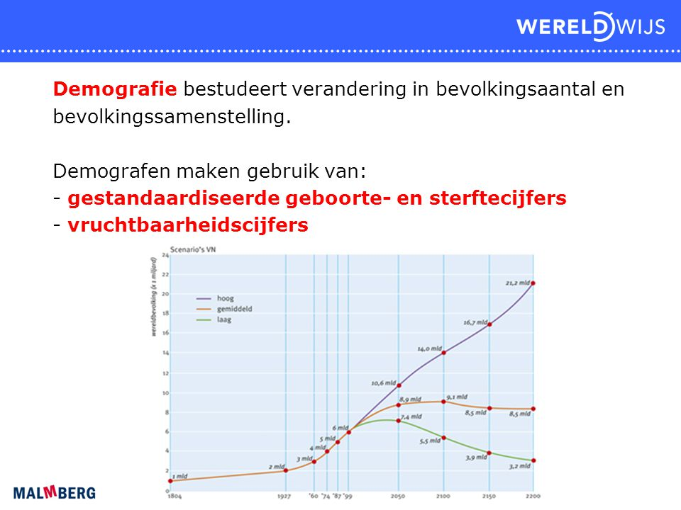 Demografie bestudeert verandering in bevolkingsaantal en bevolkingssamenstelling. Demografen maken gebruik van: - gestandaardiseerde geboorte- en ster