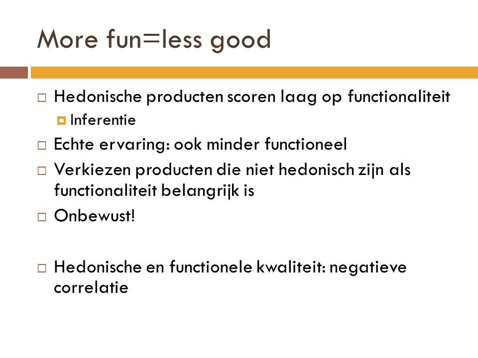 More fun=less good  Hedonische producten scoren laag op functionaliteit  Inferentie  Echte ervaring: ook minder functioneel  Verkiezen producten d